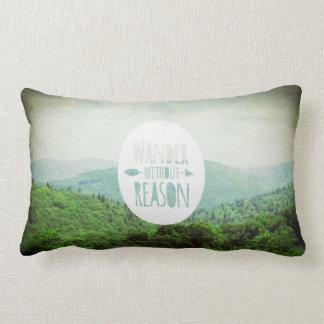 Wander Without Reason, Inspirational Quote Lumbar Pillow