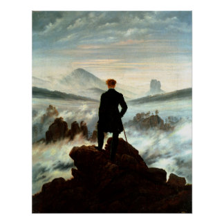 Wanderer Above the Sea of Fog, Caspar Friedrich Poster