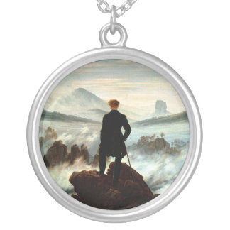 Wanderer Above the Sea of Fog, Caspar Friedrich Silver Plated Necklace