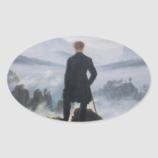 Wanderer above the Sea of Fog Oval Sticker