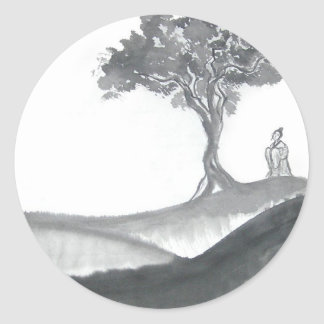 Wandering Taoist Monk Round Stickers