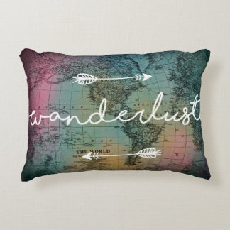 Wanderlust Colorful World Map Accent Pillow