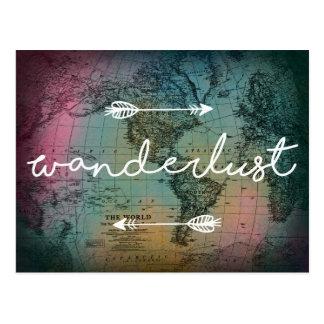 Wanderlust Colorful World Map Postcard
