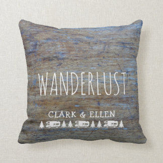 Wanderlust Custom Name | Rustic Wood RV Camper Throw Pillow