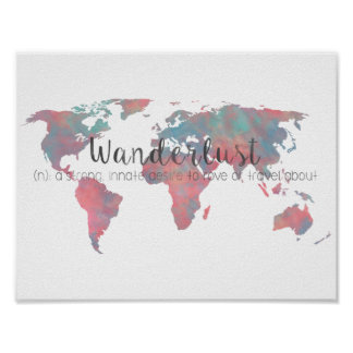 Wanderlust definition on watercolor World map Poster