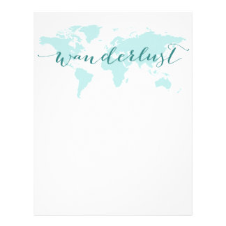 Wanderlust, desire to travel, teal world map personalized letterhead