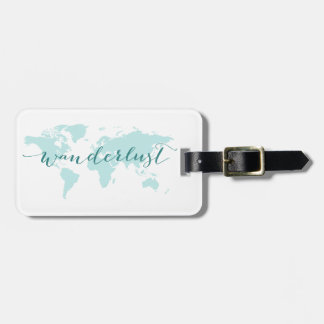 Wanderlust, desire to travel, teal world map luggage tag