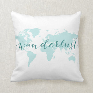 Wanderlust, desire to travel, teal world map throw pillow
