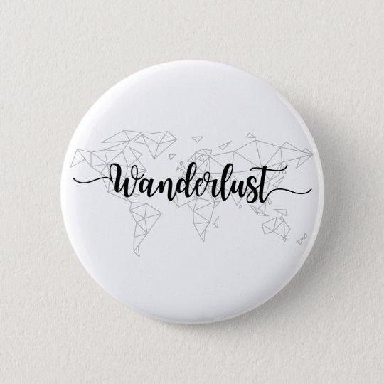 Wanderlust geometric world map 2 inch round button