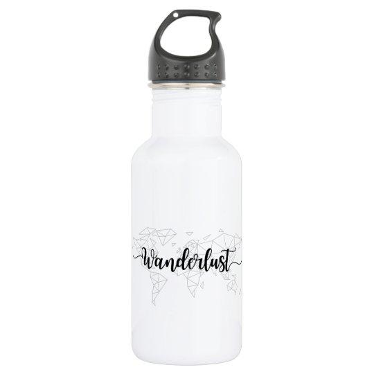 Wanderlust geometric world map 532 ml water bottle