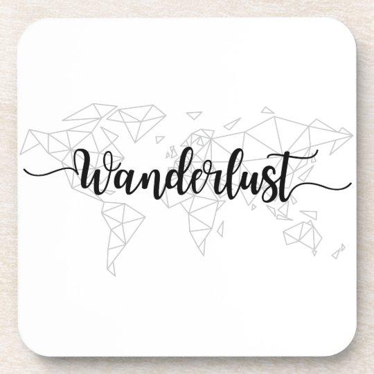 Wanderlust geometric world map coaster