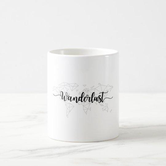 Wanderlust geometric world map coffee mug
