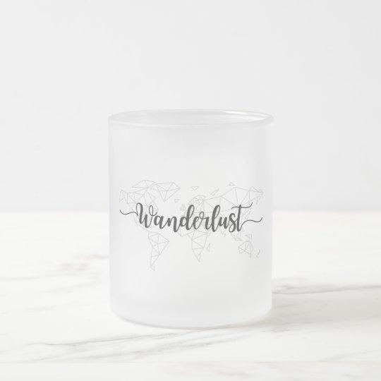 Wanderlust geometric world map frosted glass coffee mug