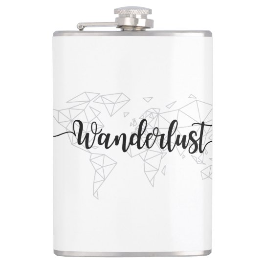 Wanderlust geometric world map hip flask