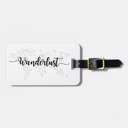 Wanderlust geometric world map luggage tag