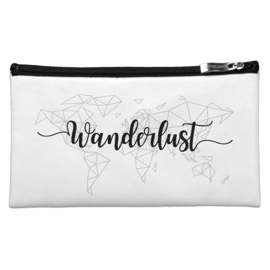 Wanderlust geometric world map makeup bag