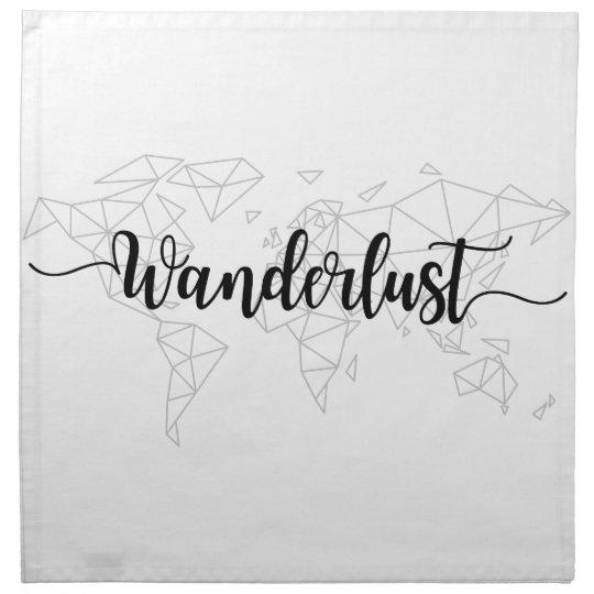 Wanderlust geometric world map napkin