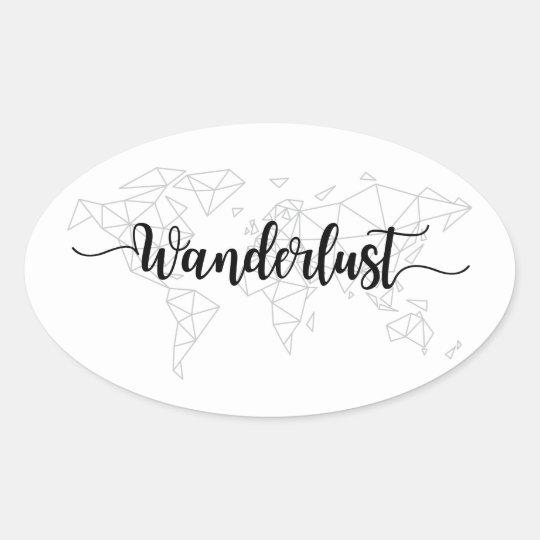 Wanderlust geometric world map oval sticker