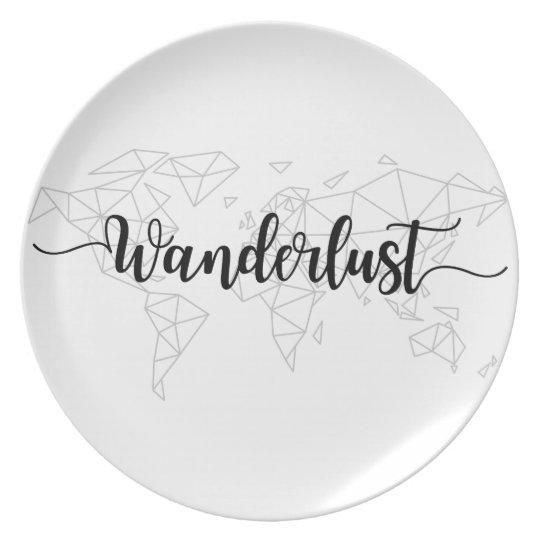 Wanderlust geometric world map plate