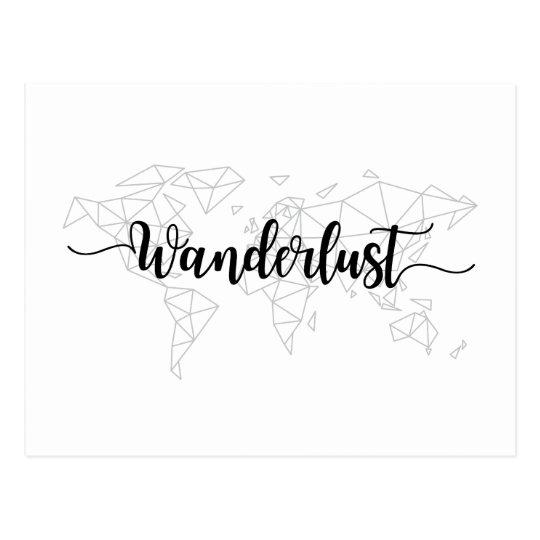 Wanderlust geometric world map postcard