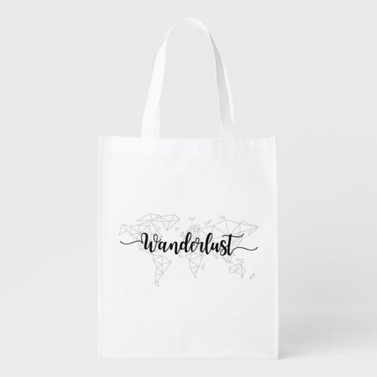 Wanderlust geometric world map reusable grocery bag