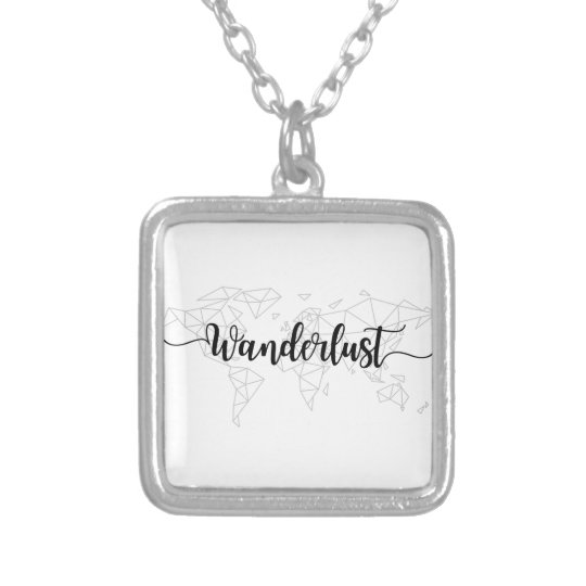 Wanderlust geometric world map silver plated necklace
