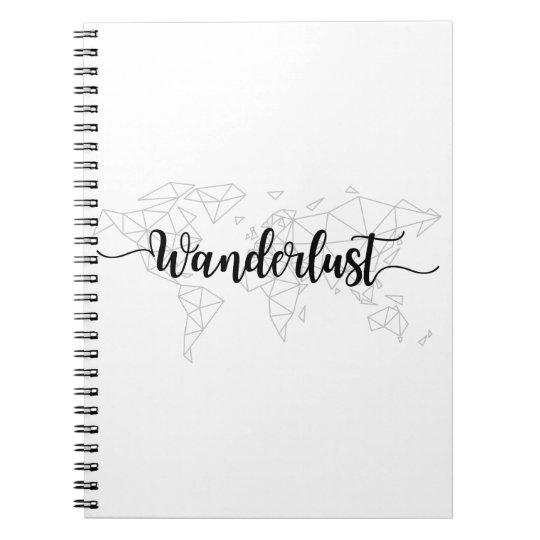 Wanderlust geometric world map spiral notebook