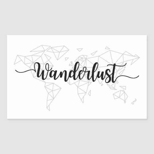 Wanderlust geometric world map sticker