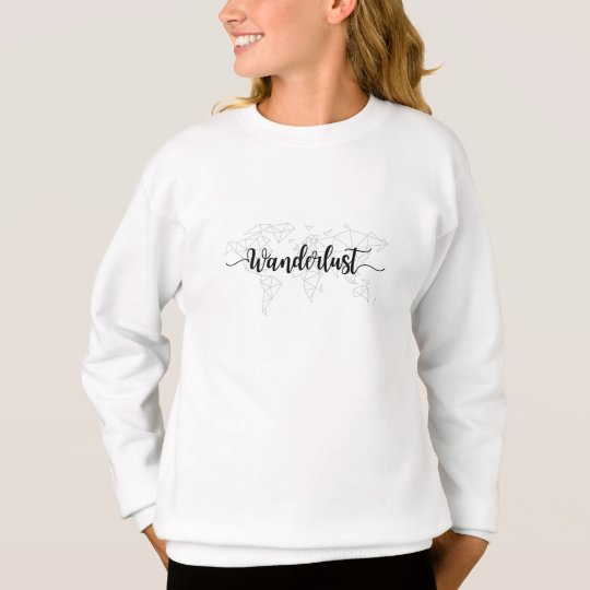 Wanderlust geometric world map sweatshirt