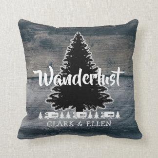 Wanderlust Pine Tree Rustic Grey Wood RV Camper Throw Pillow