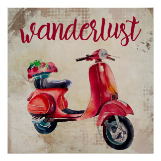 Wanderlust - Red Watercolor Moped Poster