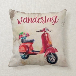 Wanderlust - Red Watercolor Scooter | Vintage Chic Throw Pillow