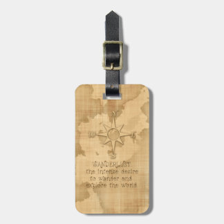 """""""Wanderlust..."""" Traveling Quote on Vintage Paper Luggage Tag"""