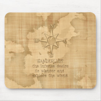 """Wanderlust..."""" Traveling Quote on Vintage Paper Mouse Pad"""