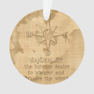"""Wanderlust..."" Traveling Quote on Vintage Paper Ornament"