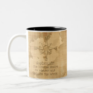 Wanderlust Traveling Quote on Vintage Paper Two-Tone Coffee Mug