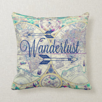 Wanderlust Vintage Map Travel Throw Pillow