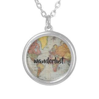 wanderlust world map round necklace