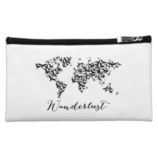 Wanderlust, world map with flying birds cosmetic bag