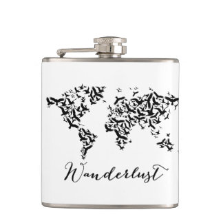 Wanderlust, world map with flying birds hip flask