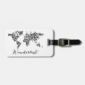 Wanderlust, world map with flying birds luggage tag
