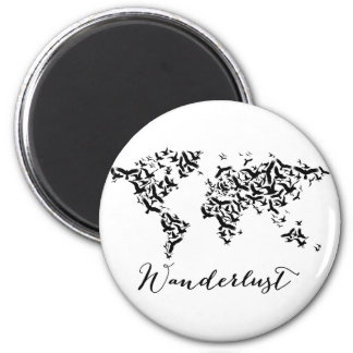 Wanderlust, world map with flying birds magnet