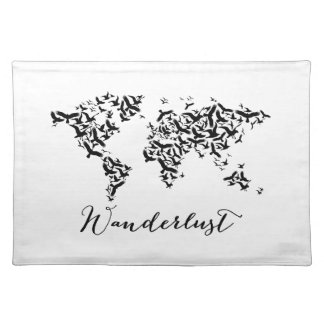 Wanderlust, world map with flying birds placemat