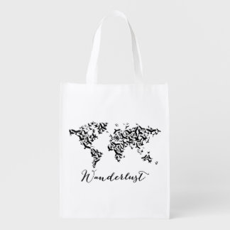 Wanderlust, world map with flying birds reusable grocery bag