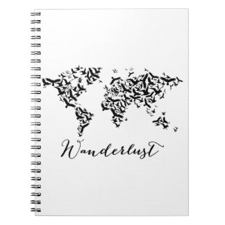 Wanderlust, world map with flying birds spiral note book