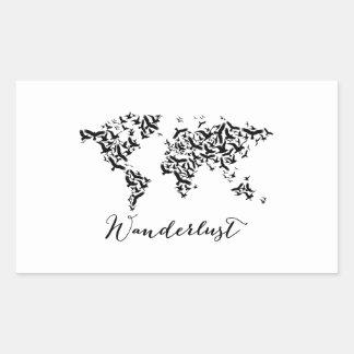 Wanderlust, world map with flying birds sticker