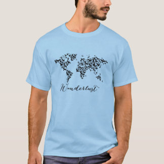Wanderlust, world map with flying birds T-Shirt