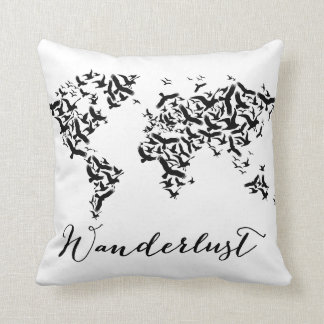 Wanderlust, world map with flying birds throw pillow