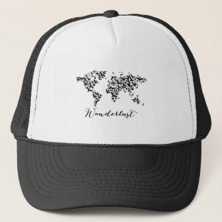 Wanderlust, world map with flying birds trucker hat