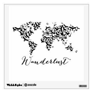 Wanderlust, world map with flying birds wall sticker
